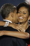 Mrs. Obama congratulating her husband showing her elegant stackable bracelets.  Steal the Style from EvesAddiction!