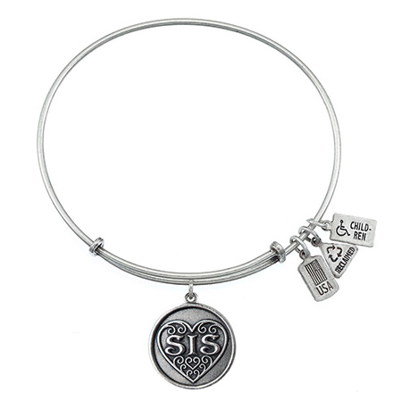 Wind and Fire Sis Filigree Heart Charm Bangle Bracelet