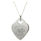 Return to Alpha Phi Sterling Silver Heart Pendant