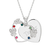 5 Stone Austrian Crystal Butterfly Engravable Birthstone Pendant