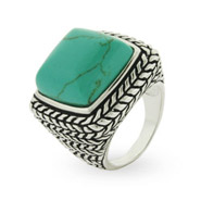 Sterling Silver Bali Style Large Turquoise Ring