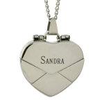 Engravable Secret Message Heart Envelope Locket