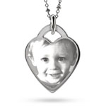 Sterling Silver Heart Charm Photo Pendant