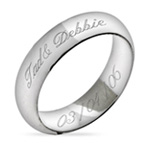 Sterling Silver Engravable Couples Message Ring