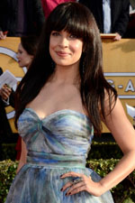 Zuleikha Robinson took a fun approach to the SAG awards red carpet with straight bangs and a glitzy cocktail ring.